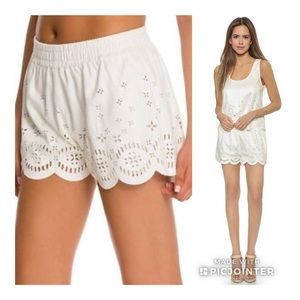 Minkpink Lackawanna Suede Cutout Shorts White S